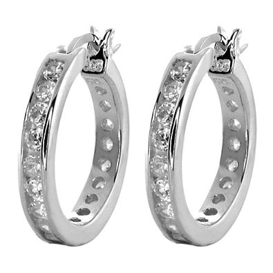 Beautiful Silvering Nice White Gemstones s Hoop Earrings